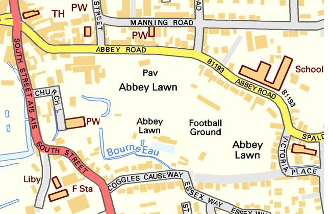 Map of Abbey Lawn in Bourne